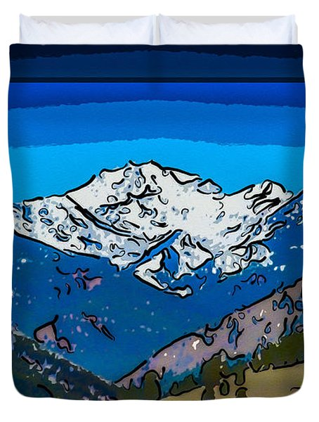 Mt Gardner In The Spring Abstract Painting  Duvet Cover