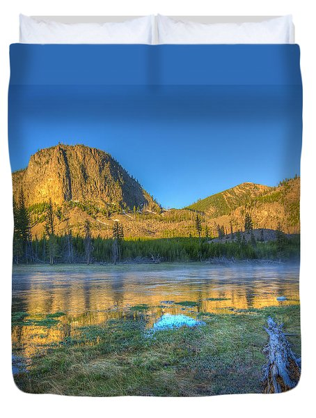 Mt. Hayes Alpine Glow Yellowstone National Park Duvet Cover
