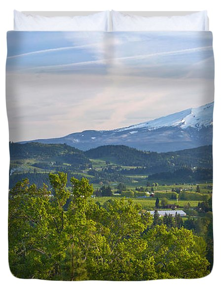 Mt Hood And Hood River Valley Duvet Cover