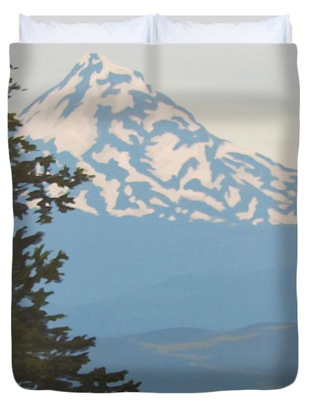 Duvet Cover featuring the painting Mt Hood by Karen Ilari