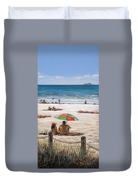 Duvet Cover featuring the painting Mt Maunganui Beach 090209 by Sylvia Kula