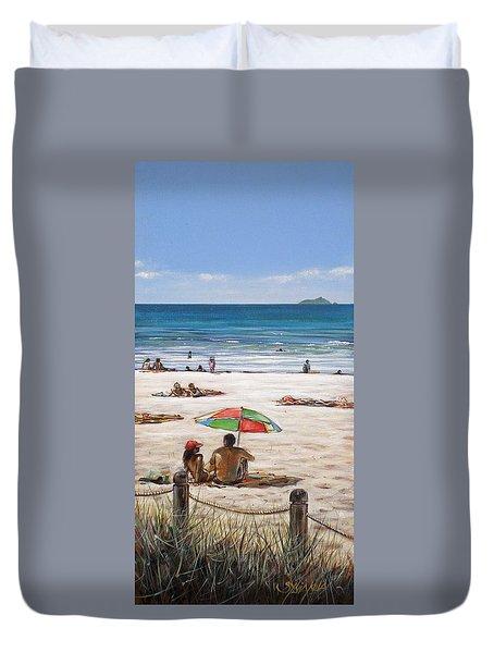 Mt Maunganui Beach 090209 Duvet Cover by Sylvia Kula