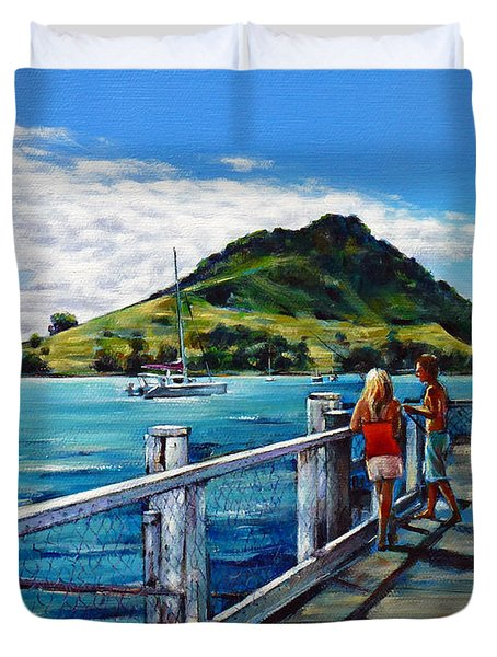 Mt Maunganui Pier 140114 Duvet Cover by Selena Boron