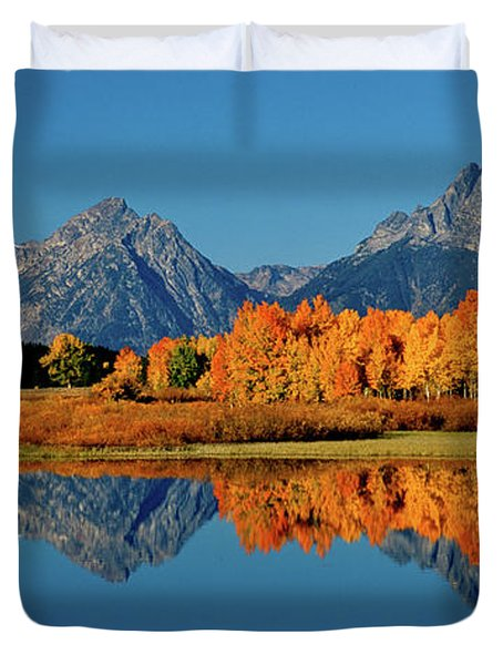 Mt. Moran Reflection Duvet Cover by Ed  Riche