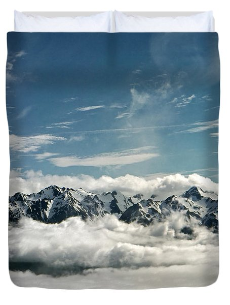 Duvet Cover featuring the photograph Mt Olympus by Greg Reed