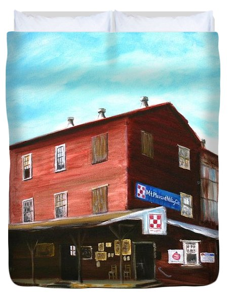 Duvet Cover featuring the painting Mt. Pleasant Milling Company by Stacy C Bottoms