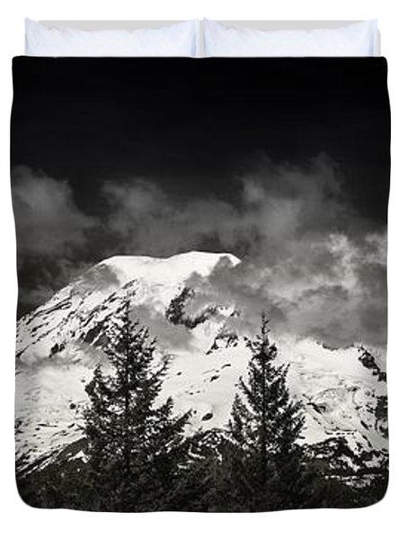 Mt Rainier Panorama B W Duvet Cover