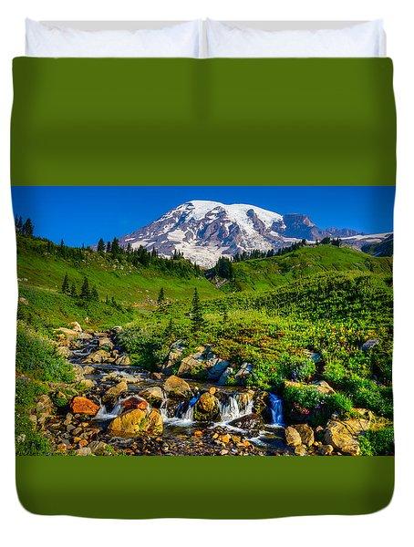 Duvet Cover featuring the photograph Mt. Rainier Stream by Chris McKenna