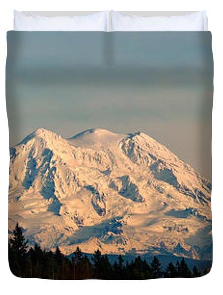 Mt Rainier Winter Panorama Duvet Cover