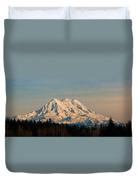 Mt Rainier Winter Panorama Duvet Cover