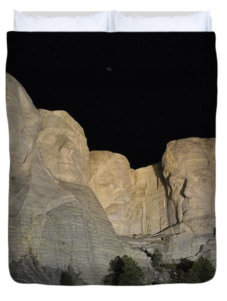 Mt. Rushmore At Night Duvet Cover