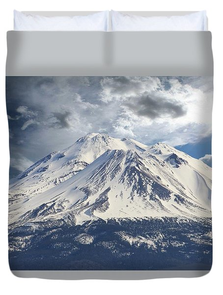 Duvet Cover featuring the photograph Mt Shasta by Athala Carole Bruckner