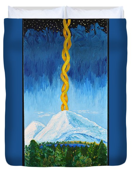 Duvet Cover featuring the painting Mt. Shasta by Cassie Sears