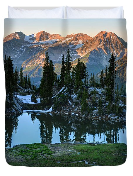 Mt. Timpanogos At Sunrise From Silver Glance Lake Duvet Cover