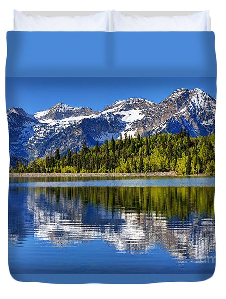Mt. Timpanogos Reflected In Silver Flat Reservoir - Utah Duvet Cover