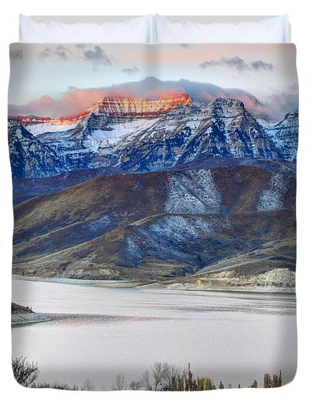Mt. Timpanogos Winter Sunrise Duvet Cover