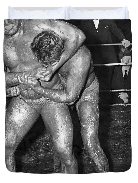 Mud Wrestling Match Duvet Cover