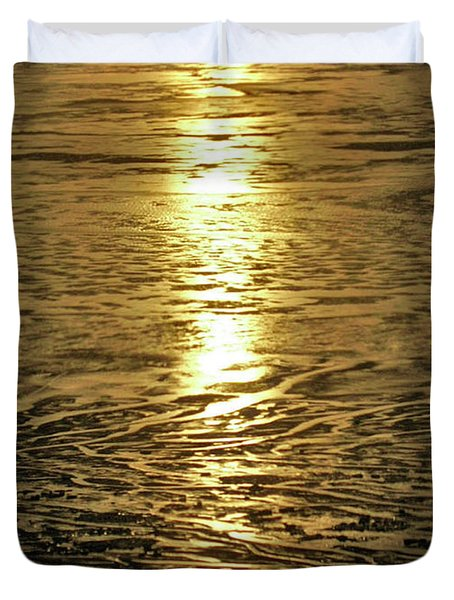 Duvet Cover featuring the photograph Muddy Reflection by Jeremy Rhoades