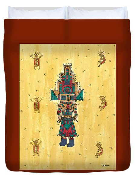 Duvet Cover featuring the painting Mudhead Kachina Doll by Susie Weber