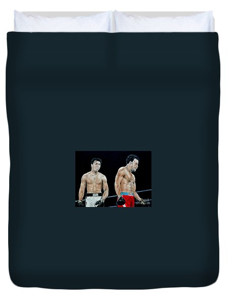 Muhammad Ali Vs George Foreman Duvet Cover by Jim Fitzpatrick