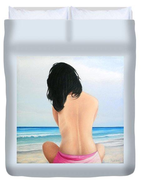 Mujer En Playa Duvet Cover by Angel Ortiz