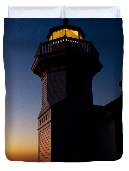 Duvet Cover featuring the photograph Mukilteo Light House Sunset by Sonya Lang