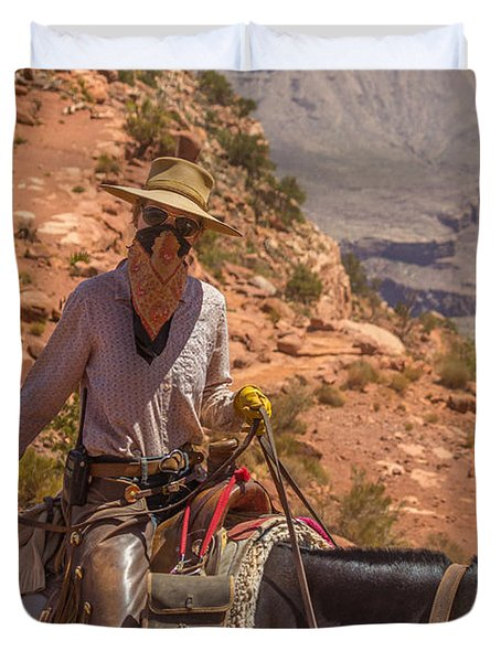 Mule Wrangler On The South Kaibab Trail Duvet Cover
