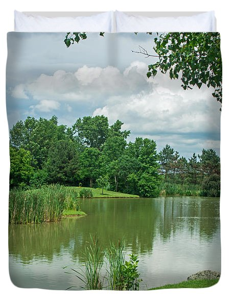 Muller Chapel Pond Ithaca College Duvet Cover by Photographic Arts And Design Studio