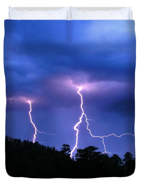 Duvet Cover featuring the photograph Multi Arc Lightning Strike by Craig T Burgwardt