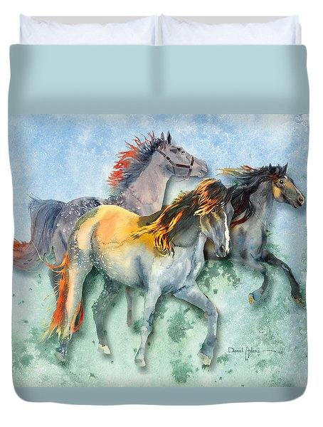 Da132 Multi - Horses Daniel Adams Duvet Cover