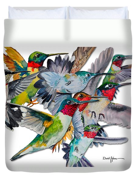 Da053 Multi-hummers By Daniel Adams Duvet Cover