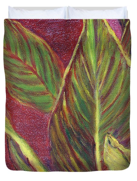 Duvet Cover featuring the painting Multicolor Leaves by Linda Feinberg