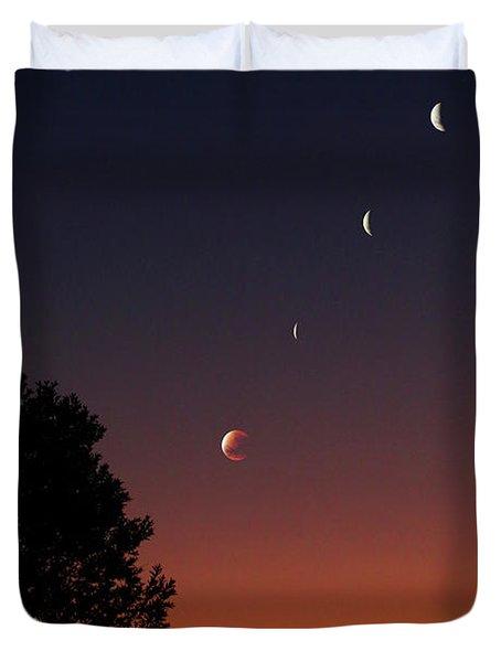 Multiple Exposures Of A Total Lunar Duvet Cover