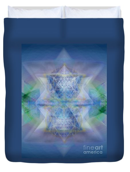 Duvet Cover featuring the digital art Multivortex 3d Chalice With Horizontal Vortexes by Christopher Pringer