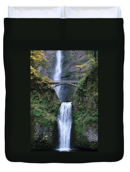 Duvet Cover featuring the photograph Multnomah Falls by Athena Mckinzie
