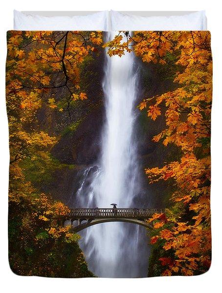 Multnomah Falls Color Duvet Cover