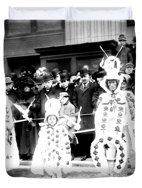 Mummers Circa 1909 Duvet Cover by Bill Cannon