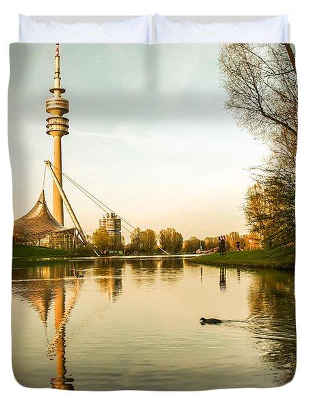 Munich - Olympiapark - Vintage Duvet Cover by Hannes Cmarits
