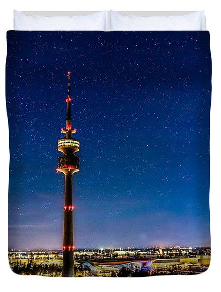 Munich City Nights - Olympiapark Duvet Cover by Hannes Cmarits