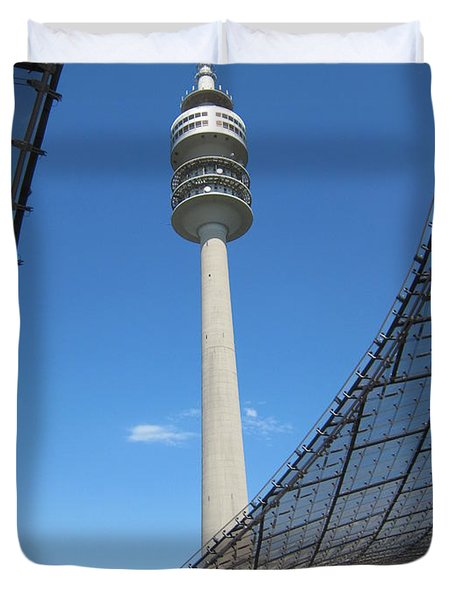 Duvet Cover featuring the photograph Munich Olympic Tower by Pema Hou