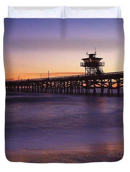 Municipal Pier At Sunset San Clemente Duvet Cover by Richard Cummins