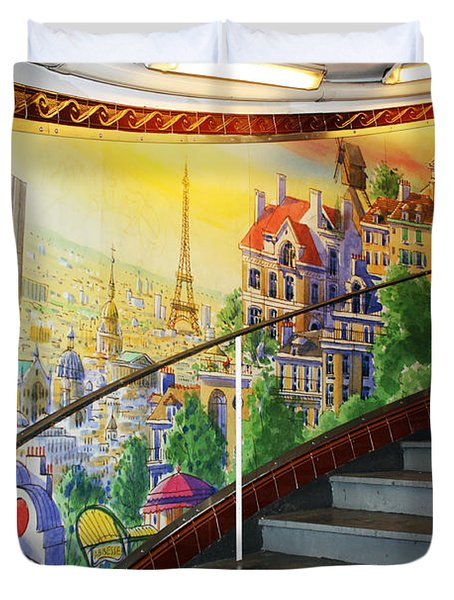 Mural In The Paris Metro Duvet Cover by Kathy Yates