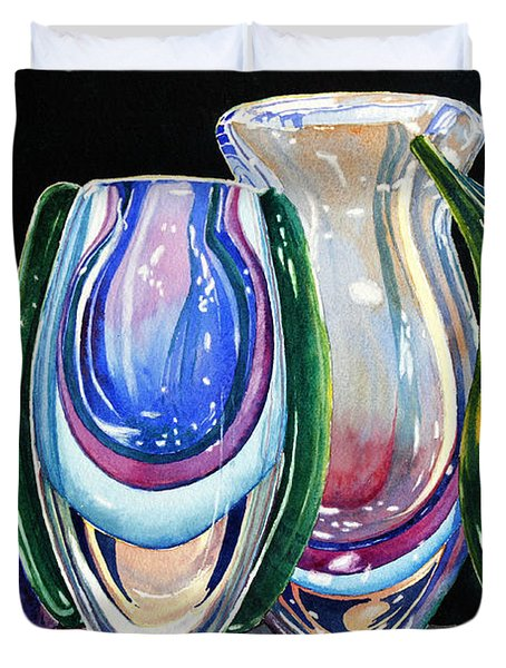 Duvet Cover featuring the painting Murano Crystal by Roger Rockefeller