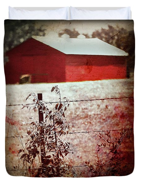Murder In The Red Barn Duvet Cover by Trish Mistric