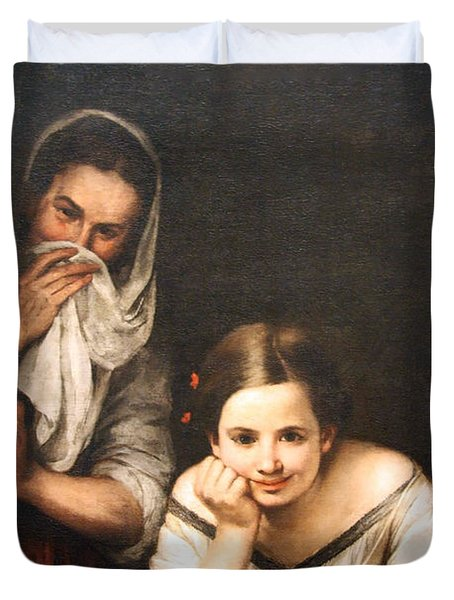 Murillo's Two Women At A Window Duvet Cover