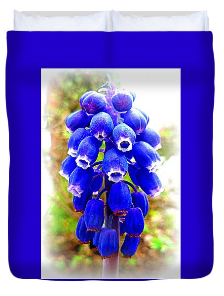 Muscari Grape Hyacinth Duvet Cover by The Creative Minds Art and Photography