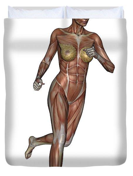 Muscular Woman Running Duvet Cover