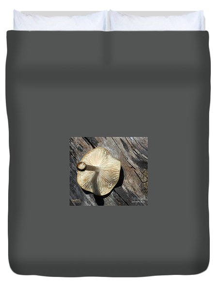 Duvet Cover featuring the photograph Mushroom On Stump by Tina M Wenger