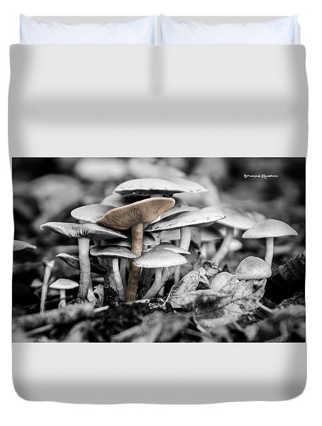 Duvet Cover featuring the photograph Mushrooms by Stwayne Keubrick