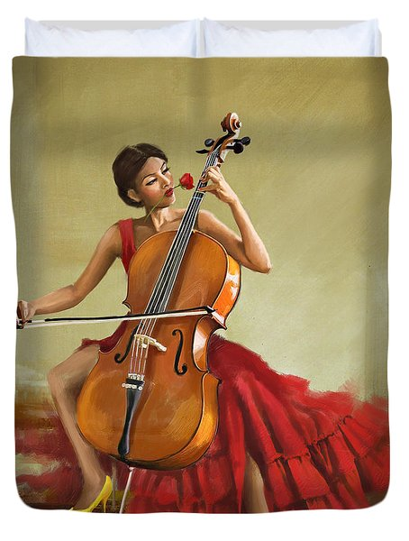 Music And Beauty Duvet Cover by Corporate Art Task Force
